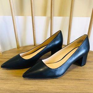 Nine West Astoria Black Leather Block Heel Pumps 9